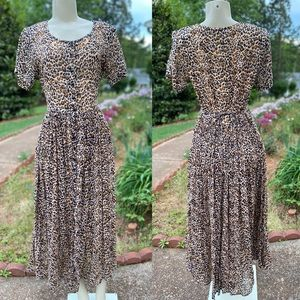HerStyle Leopard Print Midi Cotton Button Up Dress